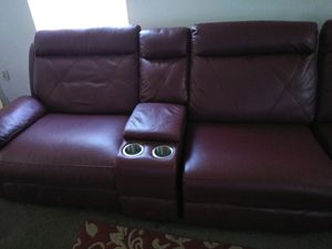 Fairly New burgundy leather sectional Negotiable for Sale in Detroit, MI
