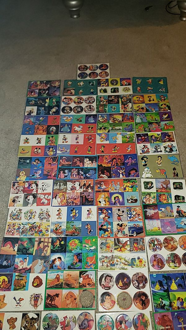 Disney pogs/ milkcaps 41 sheets of 6