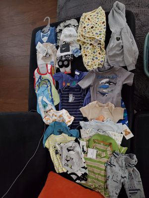 Baby clothes, boy, bibs, onesies, blankets. for Sale in Mesa, AZ