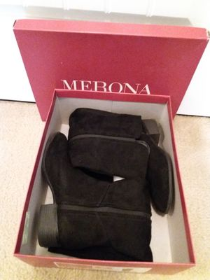 """Merona """"Evie"""" Faux Suede Black Pull-on Riding Boots Sz 7 for Sale in St. Louis, MO"""
