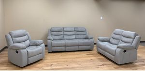 New Reclining set 3pc light Grey fabric for Sale in Puyallup, WA