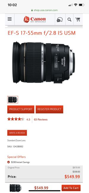 Canon EF-S 17-55mm f/2.8 IS USM Lens for Sale in Waltham, MA