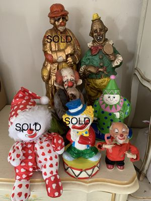 Vintage Clowns! Chalkware, wind-up, bank, prints for Sale in Vista, CA