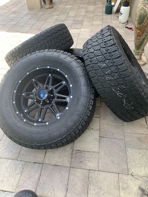 HOSTILE JEEP WRANGLER 20 INCH WHEELS 5*127.5*5 DUAL DRILLED WITH NITTO GRAPPLER G2 TIRES EXC THREAD for Sale in Pembroke Pines, FL