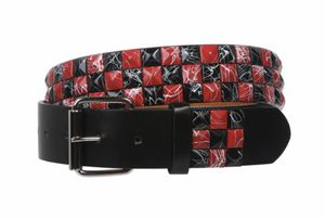 """Snap On 1 1/2"""" Red & Black Checkerboard Made of genuine bonded leather Snap on, interchangeable roller buckle Red & Black checkerboard studs detail for Sale in French Creek, WV"""