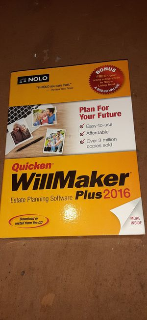 Quicken willmaker plus 2016 software for Sale in INTRCSION CTY, FL