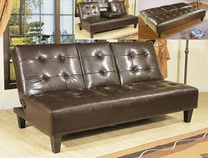 Bennett Adjustable Futon Sofa with Drop-Down Cup Holders $319 BUY ONLINE SAME DAY DELIVERY! for Sale in Richmond, TX