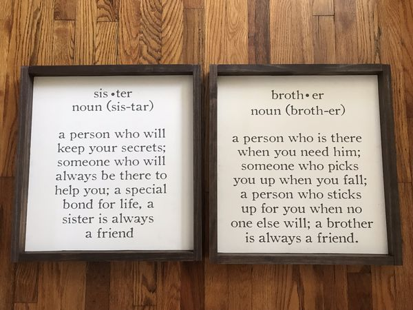Sister and Brother signs