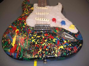 Hugh M ? Signed Custom Splatter Paint Aria Pro II STG Electric Guitar w Faux Fur Jackson Pollock Stone Roses for Sale in Fort Belvoir, VA