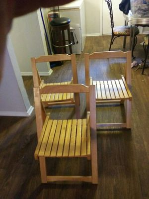 3 Wooden Folding Chairs for Sale in Bedford, TX