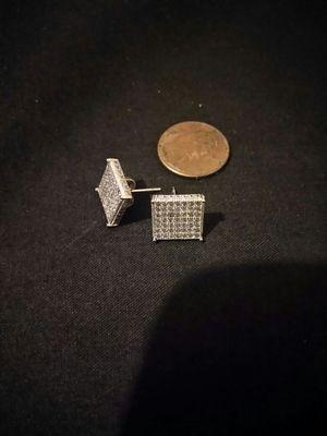 Silver Diamond square earrings for Sale in Detroit, MI