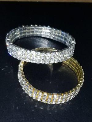Rhinestone bracelet available in silver and gold . for Sale in Atlanta, GA
