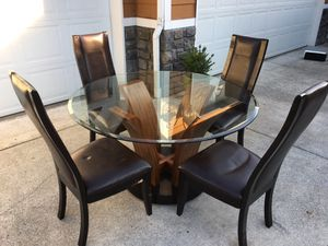 6 Piece Glass Dining Table and Leather Chairs for Sale in Tacoma, WA