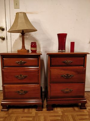 "Solid wood 2 night stand with 3 drawers each in very good condition, all drawers sliding smoothly, pet free smoke free. L19""*W15.4""*H27"" for Sale in Annandale, VA"