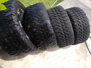Set of 4 rims and tires 6 lugs universal size 315 xbox 12.50 R20 for Sale in Palm Bay, FL