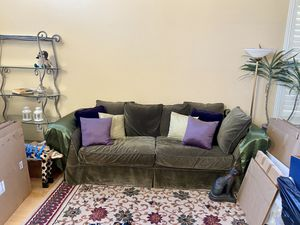 Airy large velvet green slip cover couch purple for Sale in Livermore, CA