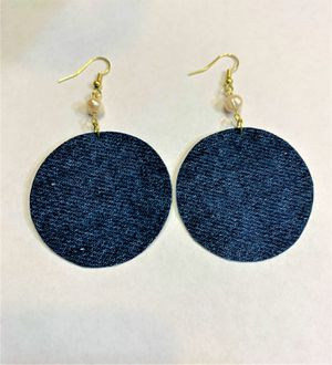 Round Denim Dangle Earring with Natural fresh water Pearl for Sale in Peoria, IL