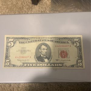 Red Stamp 1963 Five Dollar Bill for Sale in Levittown, PA