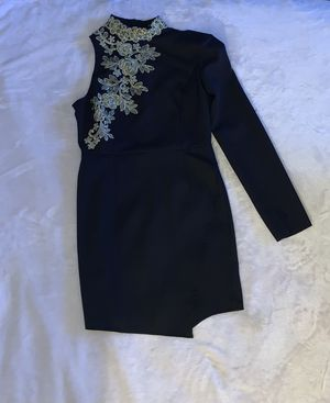 Black One-Sleeve Dress w/ Gold Embroidery Flower for Sale in Brooklyn, NY