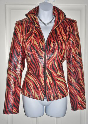 "(FREE DELIVERY) ""Cache"" black/red/yellow fire flames snake-print motorcycle biker jacket (size S) for Sale in North Las Vegas, NV"