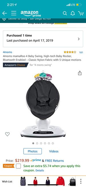 4 Moms Mamaroo 4 baby swing for Sale in San Diego, CA