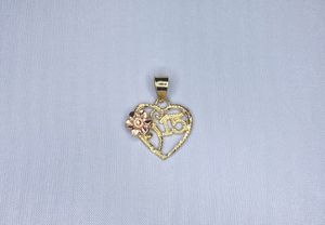 """LADIES 14KT TWO TONE GOLD HEART CHARM WITH """"15"""" AND FLOWER PENDANT INVENTORY NUMBER I-1202 for Sale in Palm Desert, CA"""