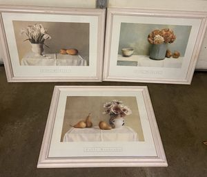 """Framed wall art / wood framed pictures, 19"""" x 22 3/4"""", $15 each or all three for $40 for Sale in Potomac, MD"""