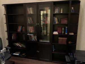 Jaspers office including set of bookcases, desk, desk side rolling cabinet, credenza lateral file cabinet for Sale in Spring, TX