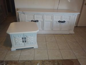 Solid wood white farmhouse buffet & end table w/ black metal handles $160/both @ 75th ave & Peoria for Sale in Peoria, AZ