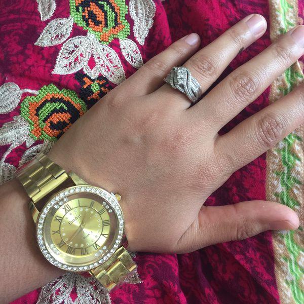 Gold tone watch