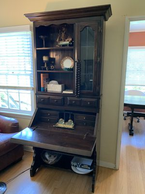 Solid Wood Tall Secretary Desk with Display Hutch for Sale in Los Angeles, CA