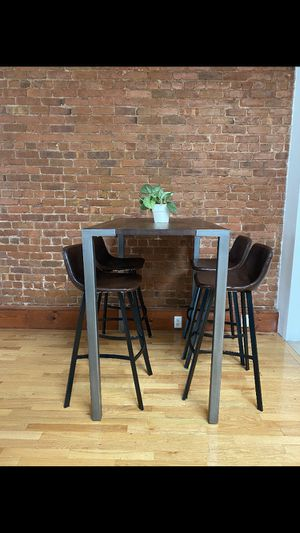 CB2 Dining room high table + 4 vintage brown high chairs for Sale in New York, NY