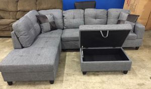 Brand New Grey Linen Sectional Sofa with Storage Ottoman for Sale in Federal Way, WA