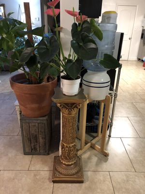 Column Stand with Plant for Sale in Modesto, CA