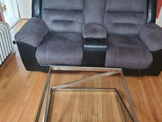 Glass Coffee Table and Loveseat Recliner With Cupholder and Armrest With Storage. for Sale in Chicago,  IL