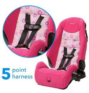 Pink Flowered Cosco Highback Booster Car Seat, Polyanna. Car seat for children. 5 Point Harness Car Seat. Silla de Carro para Niña. for Sale in Riverside, CA