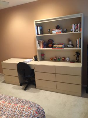 Formica Desk, Dresser and Shelves with Matching Bed End Table and Storage Hutch for Sale in Englishtown, NJ