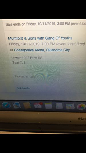 Mumford and Sons concert tickets, 10-11-2019 Chesapeake arena OKC for Sale in Tulsa, OK
