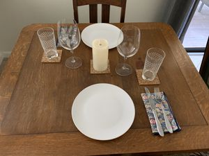 Antique Trestle Dining table w/4 chairs for Sale in Encinitas, CA