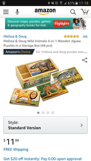 Melissa & Doug Wild Animals 4-in-1 Wooden Jigsaw Puzzles in a Storage Box (48 pcs) for Sale in Hillsboro, OR