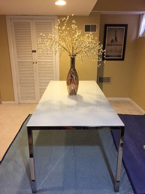 Dining Table Chrome plated, glass white for Sale in Silver Spring, MD