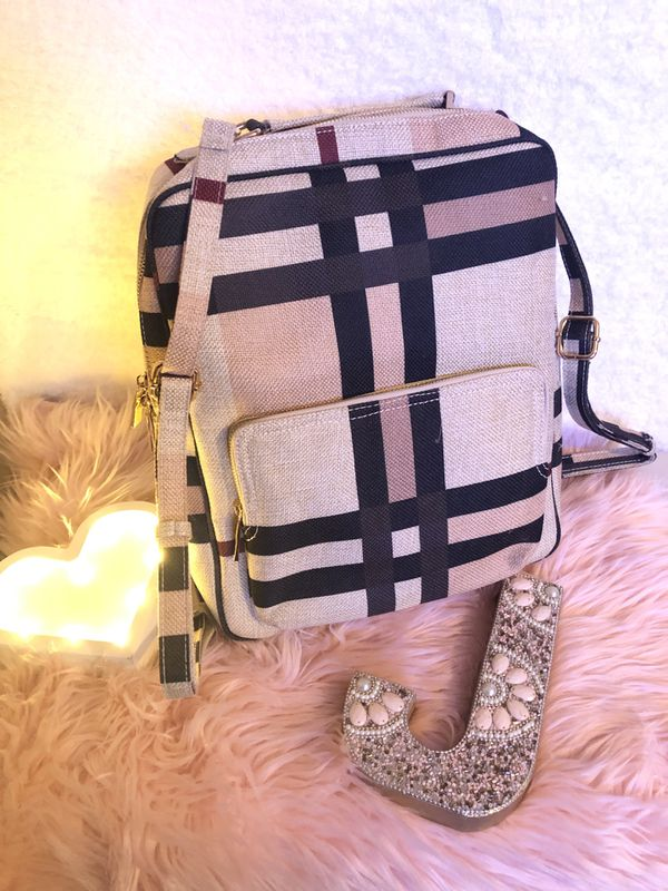 Plaid laptop backpack