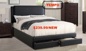 Black Leather Bed Frame with Drawers, Queen, F9334Q for Sale in Downey, CA
