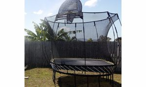 Springfree trampoline with Tgoma gaming system and basketball hoop for Sale in Pittsburgh, PA