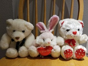 Pink bunny rabbit white bear red white I love you heart stuffed animals for Sale in Monterey Park, CA