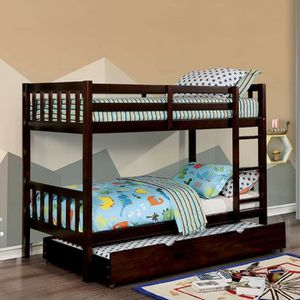 DARK WALNUT FINISH TWIN OVER TWIN SIZE BUNK BED + TRUNDLE for Sale in San Diego, CA