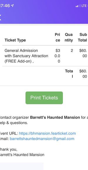 2xtickets for Barrett's haunted mansion for $50 for Sale in Braintree, MA