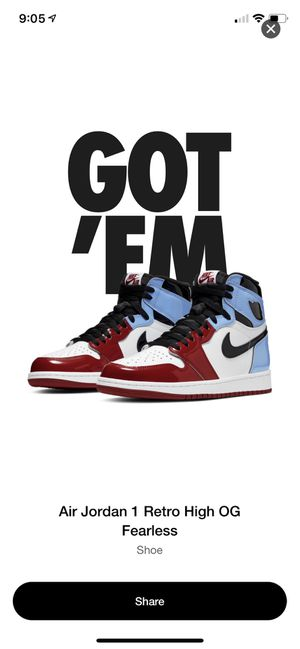 Jordan 1 fearless size 9.5 men's new with box for Sale in West Chicago, IL