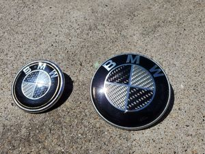 BMW E46 carbon fiber hood and trunk emblem for Sale in San Diego, CA