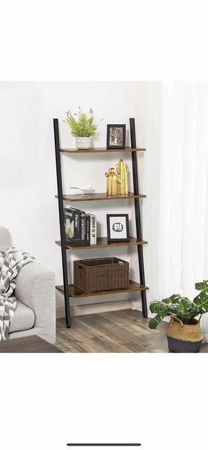 Industrial Ladder Shelf, 4-Tier Bookshelf, Storage Rack Shelves, for Living Room, Kitchen, Office, Iron, Stable, Sloping, Leaning Against The Wall, R for Sale in Corona, CA